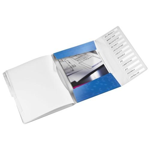 Ordnungsmappe WOW mit Gummizug A4 mit 12 Fächern und 3 Klappen blau metallic PP Leitz 4634-00-36 Produktbild Additional View 1 L