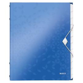 Ordnungsmappe WOW mit Gummizug A4 mit 12 Fächern und 3 Klappen blau metallic PP Leitz 4634-00-36 Produktbild