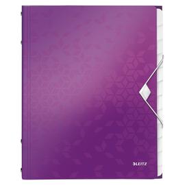 Ordnungsmappe WOW mit Gummizug A4 mit 12 Fächern und 3 Klappen violett metallic PP Leitz 4634-00-62 Produktbild