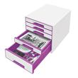 Schubladenboxen WOW Cube 5 Schübe 287x270x363mm perlweiß/violett metallic Kunstoff Leitz 5214-20-62 Produktbild Additional View 1 S