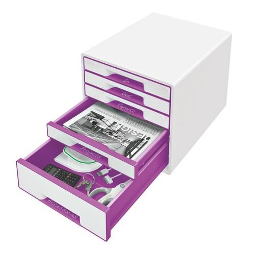 Schubladenboxen WOW Cube 5 Schübe 287x270x363mm perlweiß/violett metallic Kunstoff Leitz 5214-20-62 Produktbild Additional View 1 L