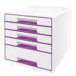 Schubladenboxen WOW Cube 5 Schübe 287x270x363mm perlweiß/violett metallic Kunstoff Leitz 5214-20-62 Produktbild