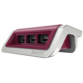 Power Ladegerät Style mit 3 USB- Anschlüsse granat rot Leitz 6207-00-28 Produktbild