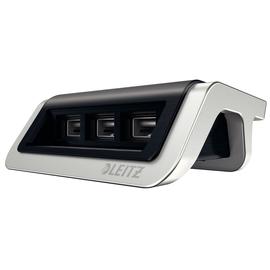 Power Ladegerät Style mit 3 USB- Anschlüsse satin schwarz Leitz 6207-00-94 Produktbild