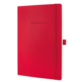 Notizbuch CONCEPTUM Softwave kariert A4 187x270mm 194Seiten red Softcover Sigel CO314 Produktbild
