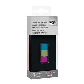 SuperDym-Magnet-Cube C5 artverum 11x11x11mm türkis/pink/hellgrün stark Sigel GL727 (PACK=3 STÜCK) Produktbild