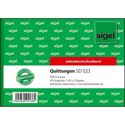 Quittungsblock A6 quer 3x40Blatt mit Sicherheitsdruck selbstdurchschreibend Sigel SD023 Produktbild