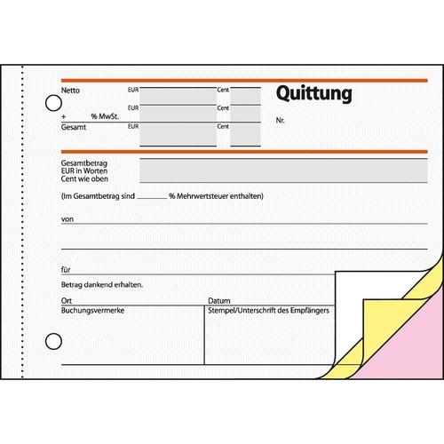 Quittungsblock A6 quer 3x40Blatt mit Sicherheitsdruck selbstdurchschreibend Sigel SD023 Produktbild Additional View 2 L