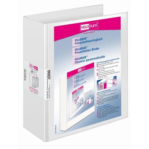 Präsentations-Ordner Velodur mit 2 Sichttaschen A4 Überbreite 85mm weiß PP Veloflex 1142190 Produktbild