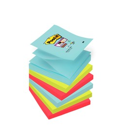 Haftnotizen Post-it Super Sticky Z-Notes 76x76mm Miami Z-Faltung Papier 3M R3306SMI (PACK=6x90 BLATT) Produktbild