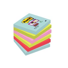 Haftnotizen Post-it Super Sticky Notes 76x76mm Miami Papier 3M 6546SMI (PACK=6x90 BLATT) Produktbild