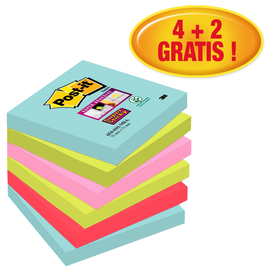 Haftnotizen Post-it Super Sticky Notes 76x76mm Miami Papier 3M 6546SMI (PACK=6x90 BLATT) Produktbild
