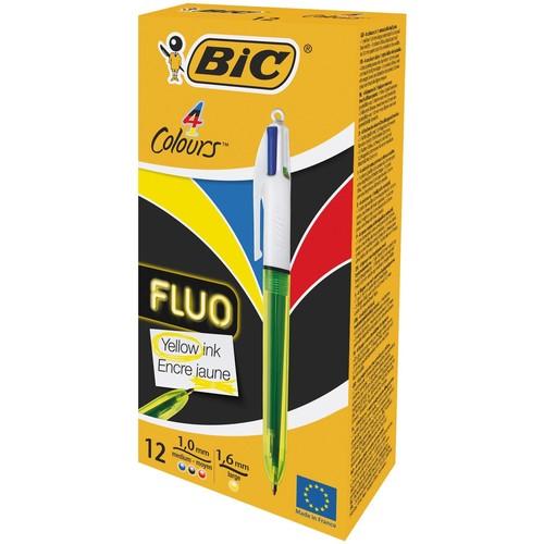 Vierfarb-Kugelschreiber 4 Colours 0,4mm/neongelb 0,6mm BIC 933948 Produktbild Additional View 2 L