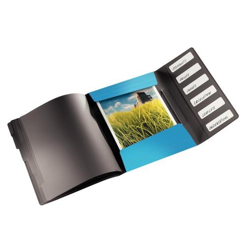 Ordnungsmappe Bebop mit Gummizug A4 mit 6 Fächern und 3 Klappen hellblau PP Leitz 4569-10-30 Produktbild Additional View 1 L