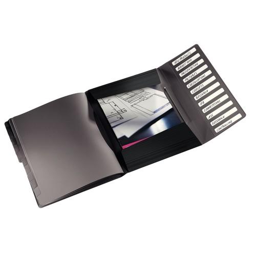 Ordnungsmappe Style mit Gummizug A4 mit 12 Fächern und 3 Klappen schwarz PP Leitz 4570-10-95 Produktbild Additional View 1 L