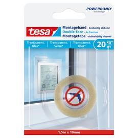 Powerbond Montageband 19mmx1,5m bis 20kg/m Haftkraft transparent Tesa 77740-00000-00 Produktbild
