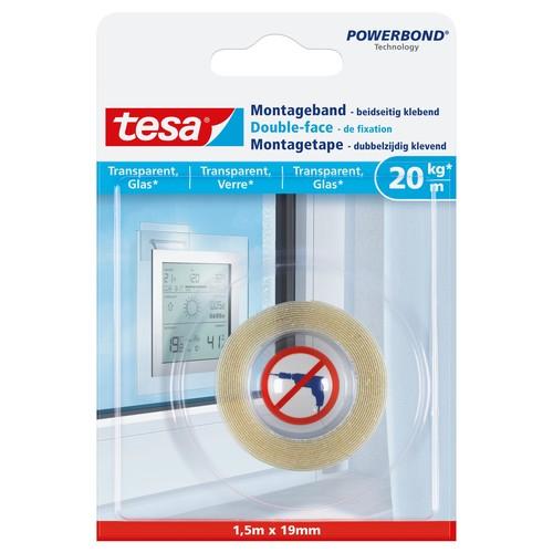Powerbond Montageband 19mmx1,5m bis 20kg/m Haftkraft transparent Tesa 77740-00000-00 Produktbild Front View L