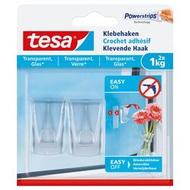 Powerstrips Klebehaken bis 1kg Haftkraft transparent Tesa 77735-00000-00 (PACK=2 STÜCK) Produktbild