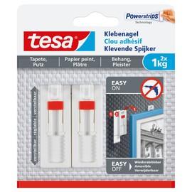 Powerstrips Klebenagel verstellbar Tapete & Putz bis 1kg Haftkraft weiß Tesa 77774-00000-00 (PACK=2 STÜCK) Produktbild