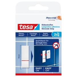 Powerstrips Klebestreifen Fliesen bis 2kg Haftkraft weiß Tesa 77760-00000-00 (PACK=9 STÜCK) Produktbild