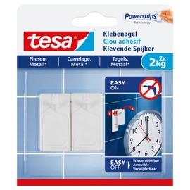 Powerstrips Klebenagel Fliesen bis 2kg Haftkraft weiß Tesa 77762-00000-00 (PACK=2 STÜCK) Produktbild