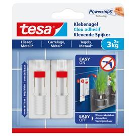 Powerstrips Klebenagel verstellbar Fliesen bis 3kg Haftkraft weiß Tesa 77764-00000-00 (PACK=2 STÜCK) Produktbild