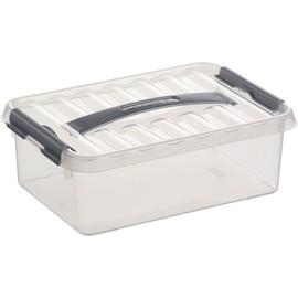 Aufbewahrungsbox mit Tragegriff und Verschluss für A5 300x200x100mm 4Liter transparent Kunststoff Helit H6160002 Produktbild