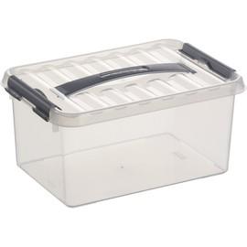 Aufbewahrungsbox mit Tragegriff und Verschluss für A5 300x200x140mm 6Liter transparent Kunststoff Helit H6160102 Produktbild