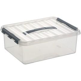 Aufbewahrungsbox mit Tragegriff und Verschluss für A4 400x300x140mm 12Liter transparent Kunststoff Helit H6160302 Produktbild