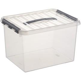 Aufbewahrungsbox mit Tragegriff und Verschluss für A4 400x300x260mm 22Liter transparent Kunststoff Helit H6160402 Produktbild