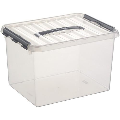 Aufbewahrungsbox mit Tragegriff und Verschluss für A4 400x300x260mm 22Liter transparent Kunststoff Helit H6160402 Produktbild Front View L