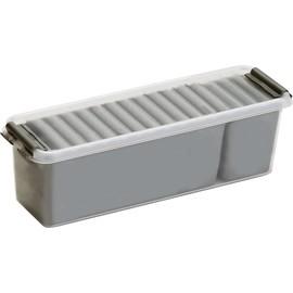 Aufbewahrungsbox 270x84x90mm 1,3Liter silber/transparent Kunststoff Helit H6160802 Produktbild