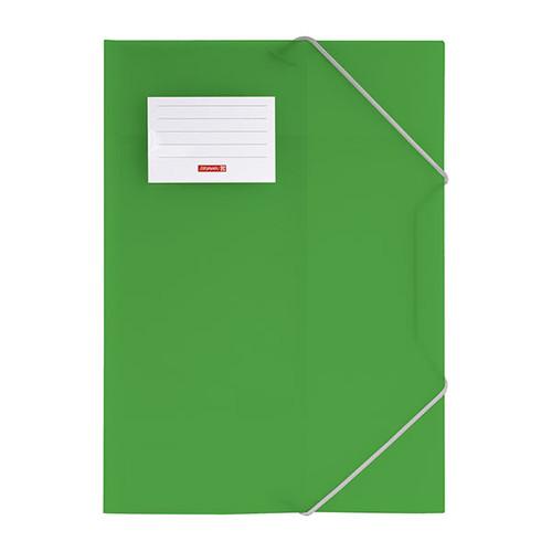 Eckspanner mit 3 Klappen A4 grün transluzent PP Brunnen 10-4160450 Produktbild Front View L