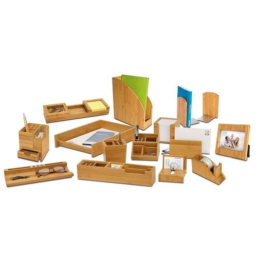 Briefständer BAMBUS mit 2Fächern natur Holz Wedo 61307 Produktbild Additional View 2 L
