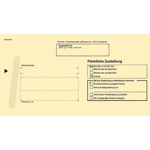 Postzustellungsbriefumschlag für innen mit Anschriftenfeld durchschreibend 224x114mm gelb RNK 2043 (PACK=500 STÜCK) Produktbild Front View L