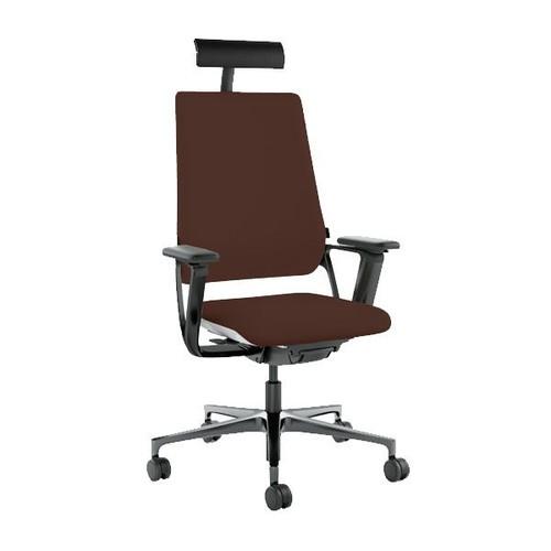 Drehstuhl Connex2 mit Armlehnen und Nackenstütze Farbe 2855 dunkelbraun Leder Klöber Produktbild Front View L