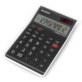 Tischrechner 12-stelliges LCD-Display 96x155x12mm Solar-/Batteriebetrieb mit Steuerberechnung Sharp EL-124 TWH Produktbild