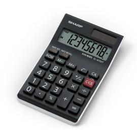 Tischrechner 8-stelliges LCD-Display 77x125x10mm Solar-/Batteriebetrieb mit Steuerberechnung Sharp EL-M700TWH Produktbild