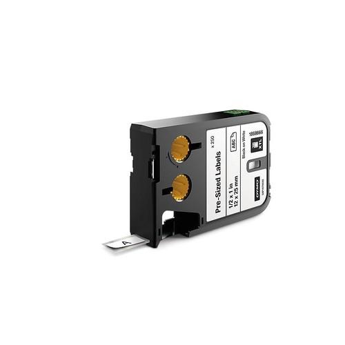 Etikettenkassette vorkonfektioniert 12mm x 12mm schwarz auf weiß Polyester Dymo 1868665 Produktbild Front View L