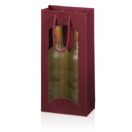 Tragetasche bordeaux für 2 Flaschen mit Fenster Famulus 660204 Produktbild