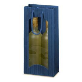 Tragetasche blau Für 2 Flaschen mit Fenster Famulus 660202 Produktbild