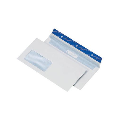 Briefumschlag CYGNUS haftklebend weiß DIN lang+ 114x229mm / mit Fenster / mit blauem Innendruck / 100g/m2 (PACK=500 STÜCK) Produktbild Front View L