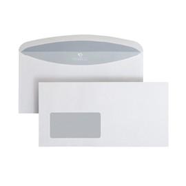 Kuvertierhülle nassklebend weiß 80g/m2 DIN lang+ 114x229mm / mit Fenster / mit innenliegender Seitenklappe (PACK=1000 STÜCK) Produktbild