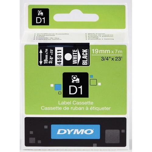 Schriftband D1 19mm/7m weiß auf schwarz Dymo S0720910 Produktbild Front View L