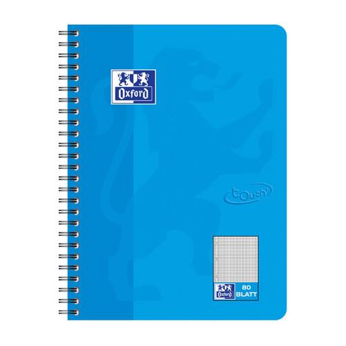 Collegeblock Oxford Touch B5 kariert 80Blatt 90g Optik Paper weiß meerblau 400086488 Produktbild Front View L