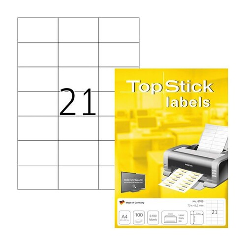 Etiketten Inkjet+Laser+Kopier 70x42,3mm auf A4 Bögen weiß BestStandard 8708 (PACK=2100 STÜCK) Produktbild