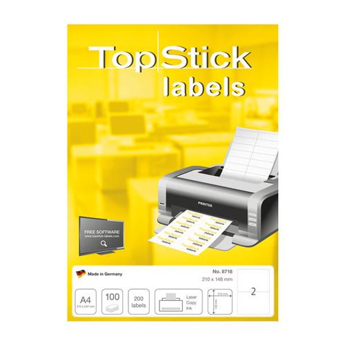 Etiketten Inkjet+Laser+Kopier 210x148mm auf A4 Bögen weiß BestStandard (PACK=200 STÜCK) Produktbild Additional View 1 L