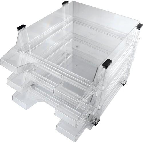 Briefkorb-3er Set für A4 brilliant glasklar Kunststoff Helit H6101302 (SET=3 STÜCK) Produktbild Front View L