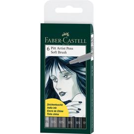 Tuschestift PITT ARTIST PEN Soft Brush Etui sortiert Shades of Grey Faber Castell 167806 (ETUI=6 STÜCK) Produktbild