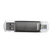 USB Stick Flash Pen 2.0 Laeta Twin 128GB 10MB/s grau Hama 00114872 Produktbild Additional View 1 S